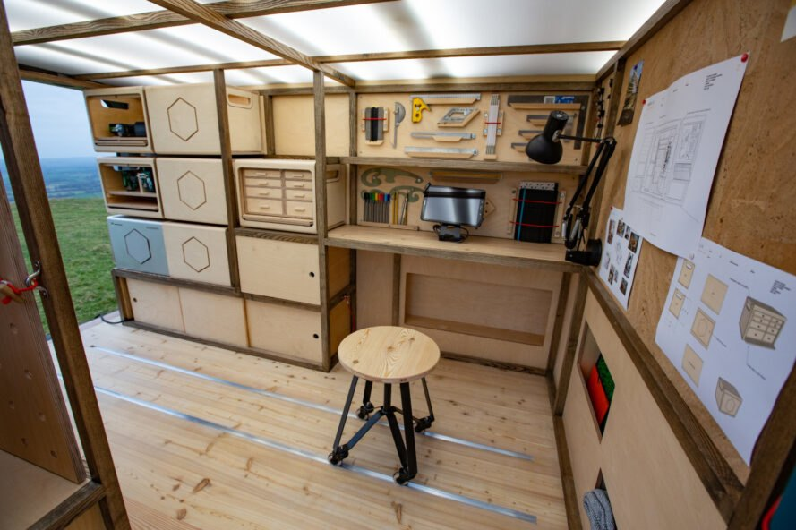 woodworking shop inside van