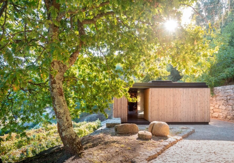 micro home clad in timber in the forest