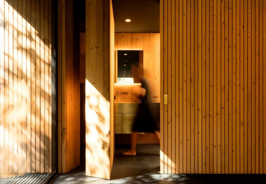 timber lined interior space