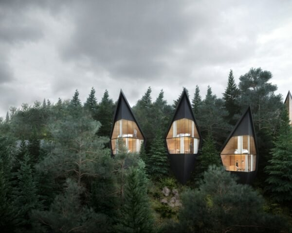 black triangular treehouses with glazed facades
