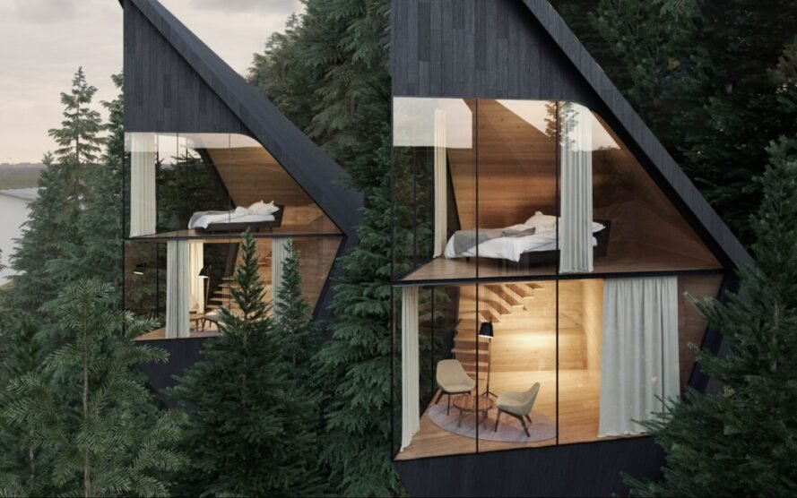 close-up of black triangular treehouses