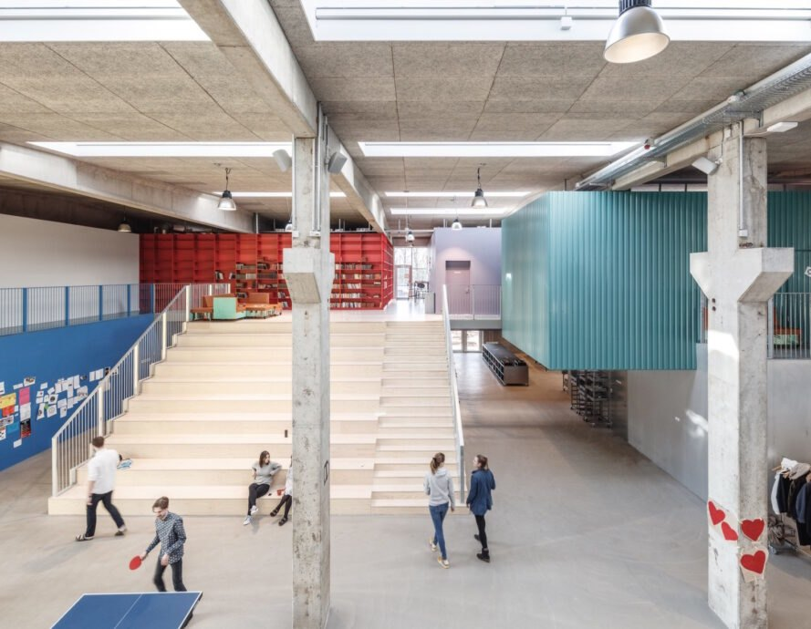 interior of revamped factory turned high school