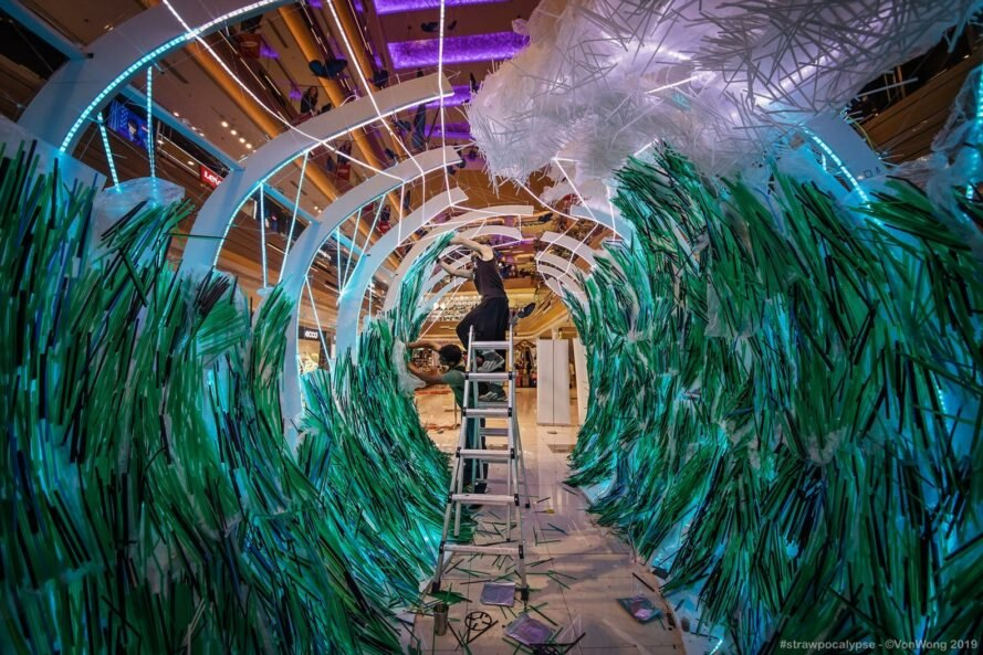 art installation made with used plastic straws