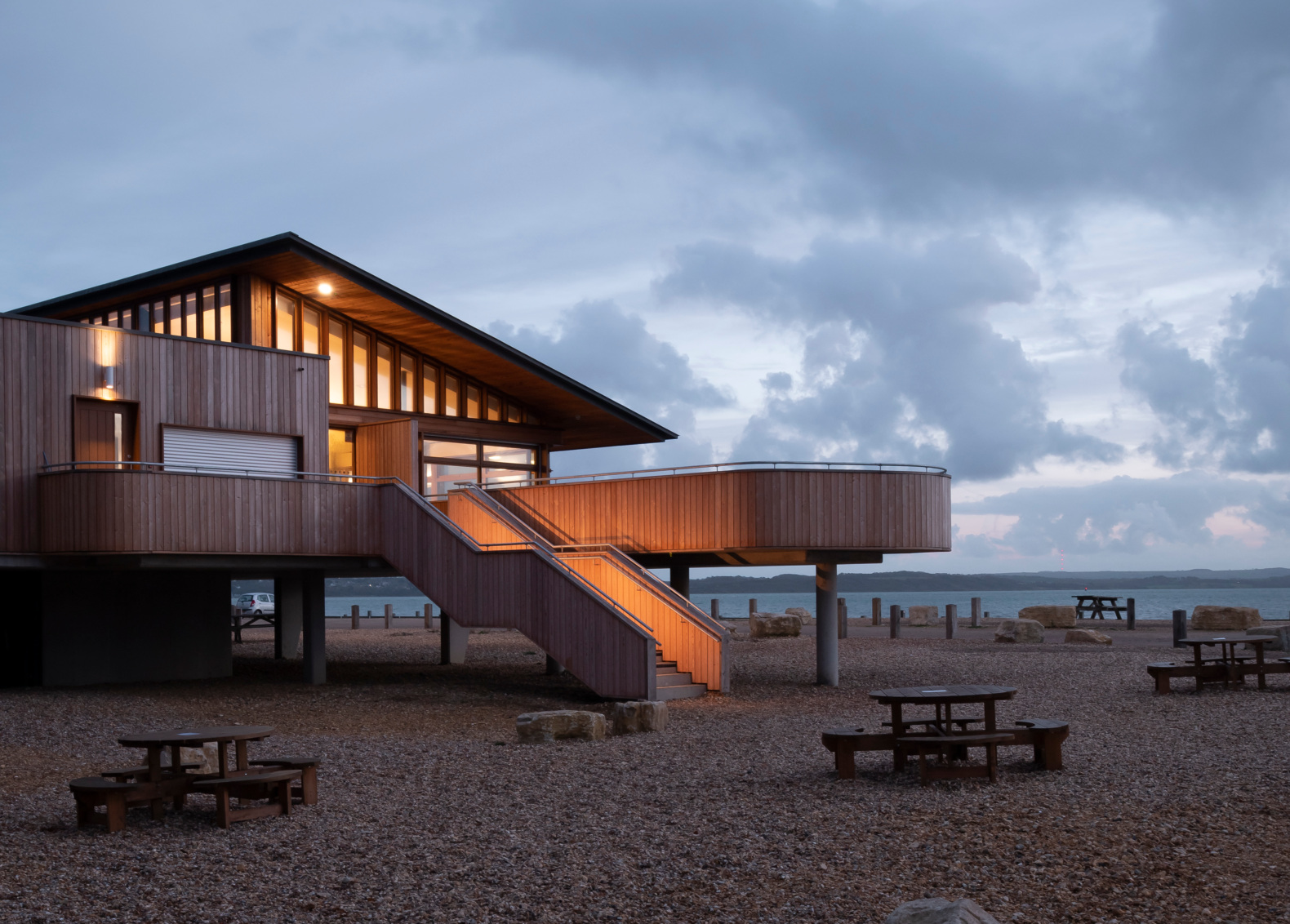 Concrete fins protect this visitor center from rising tides