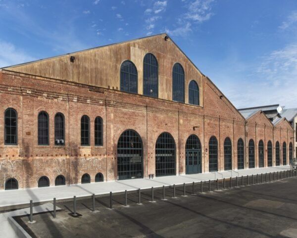 huge brick building with gabled roof