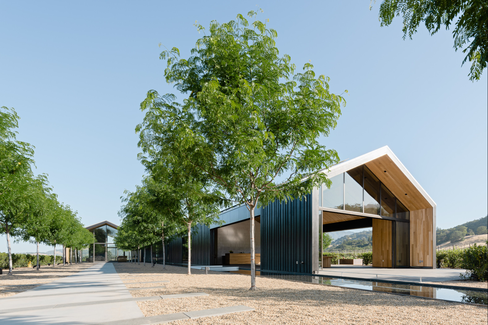 This gorgeous LEED Platinum winery is made of reclaimed wood
