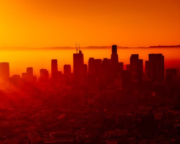 Los Angeles skyline in an orange light