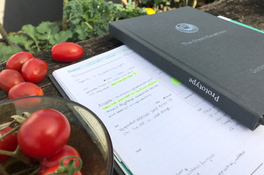 gray planner book on table near tomatoes
