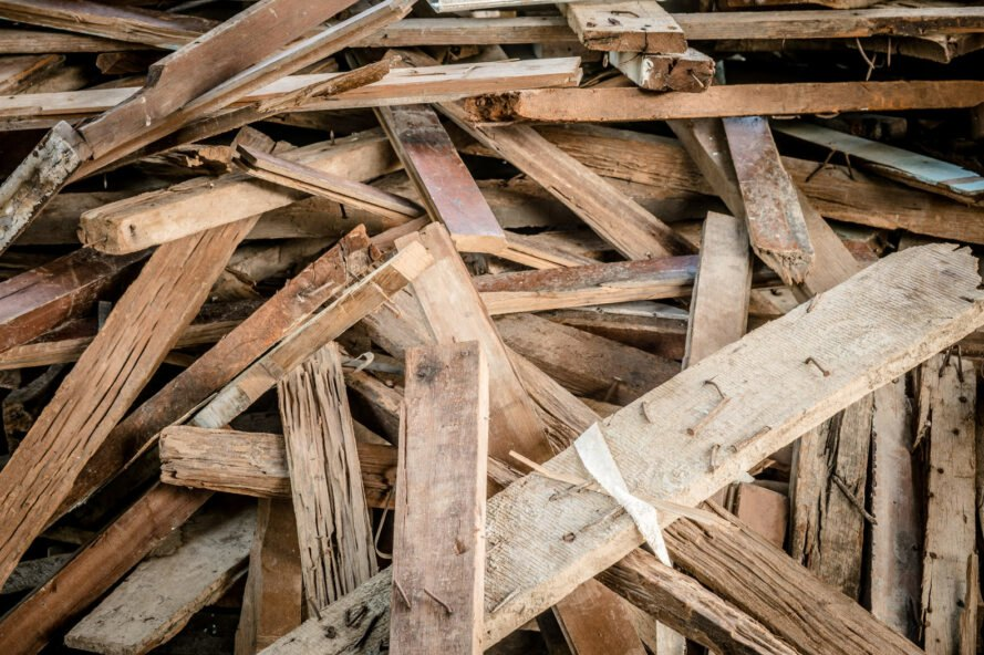 piles of recycled wood