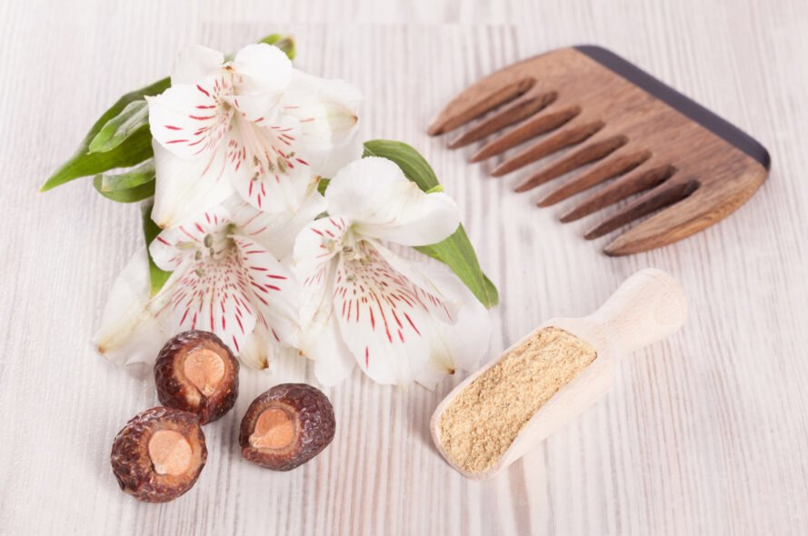 soapnuts near flowers and wooden comb
