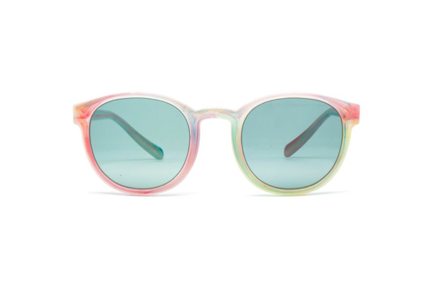pink and blue colored sunglasses