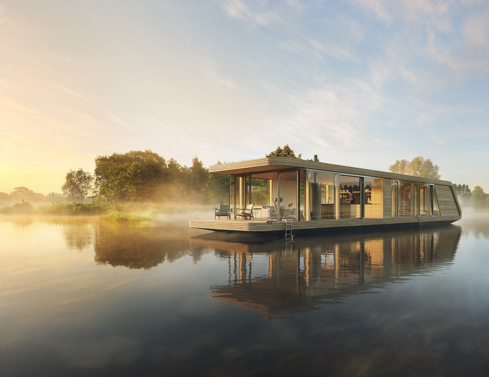 A solar-powered houseboat designed for the water-loving adventurer