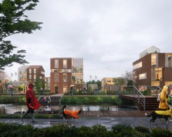 rendering of people walking near lush parks and brick buildings