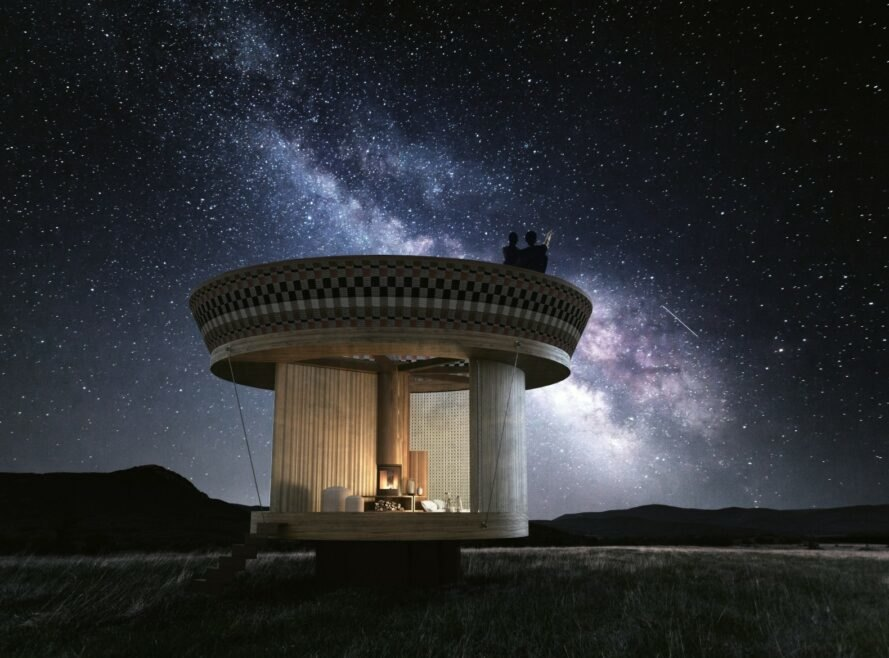 round structure under a starry sky