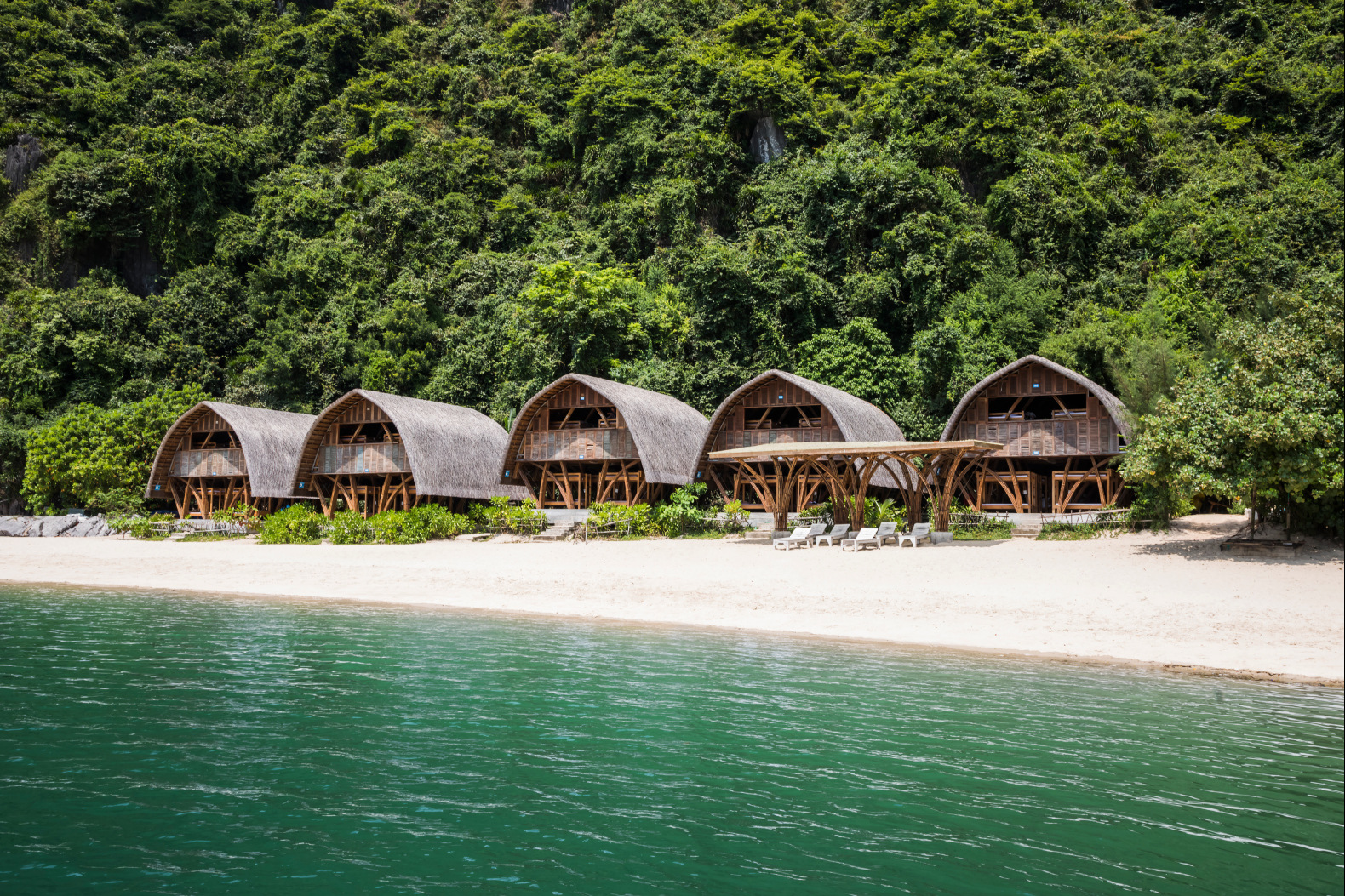 Escape the hustle and bustle of everyday life in these bamboo huts built on a remote Vietnamese beach