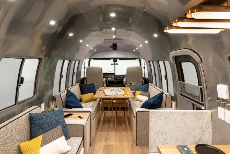 A 1989 Airstream is converted into a modern home on wheels