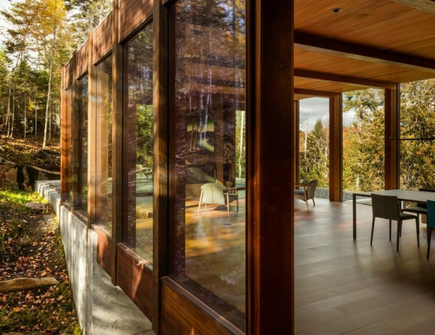 house with wood floors and glass walls