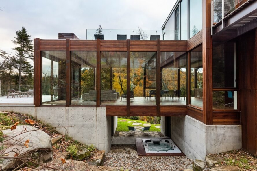 home with mahogany wood and glass panels