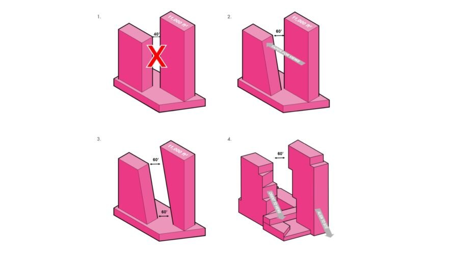 pink figures representing the assembly of the towers