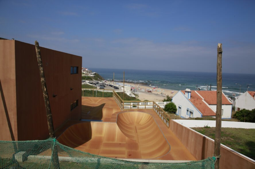 large skate park in front of beach