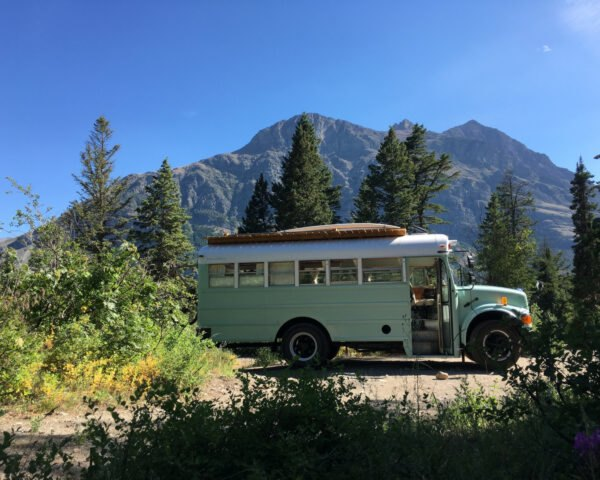 converted school bus in natural setting