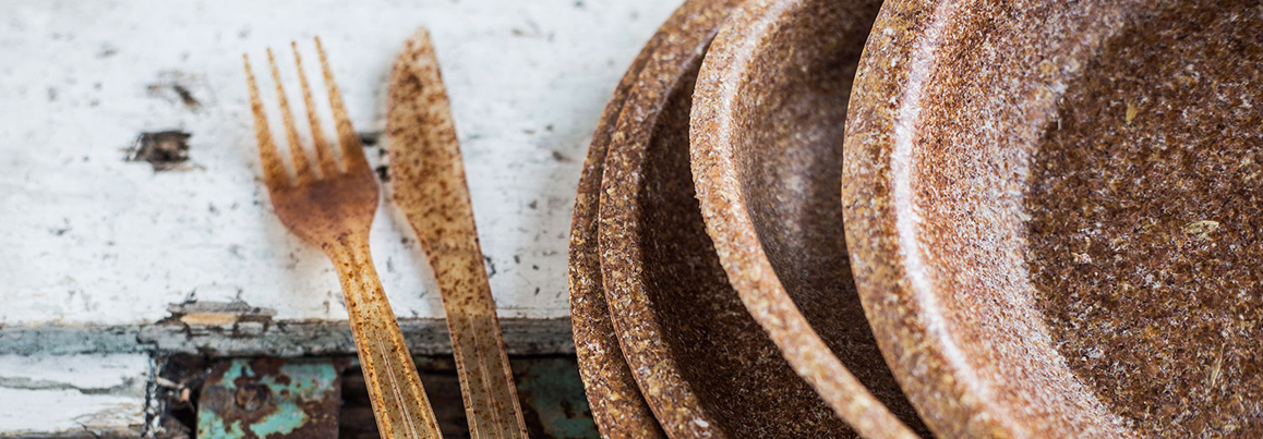 Biodegradable tableware made from wheat bran debuts at