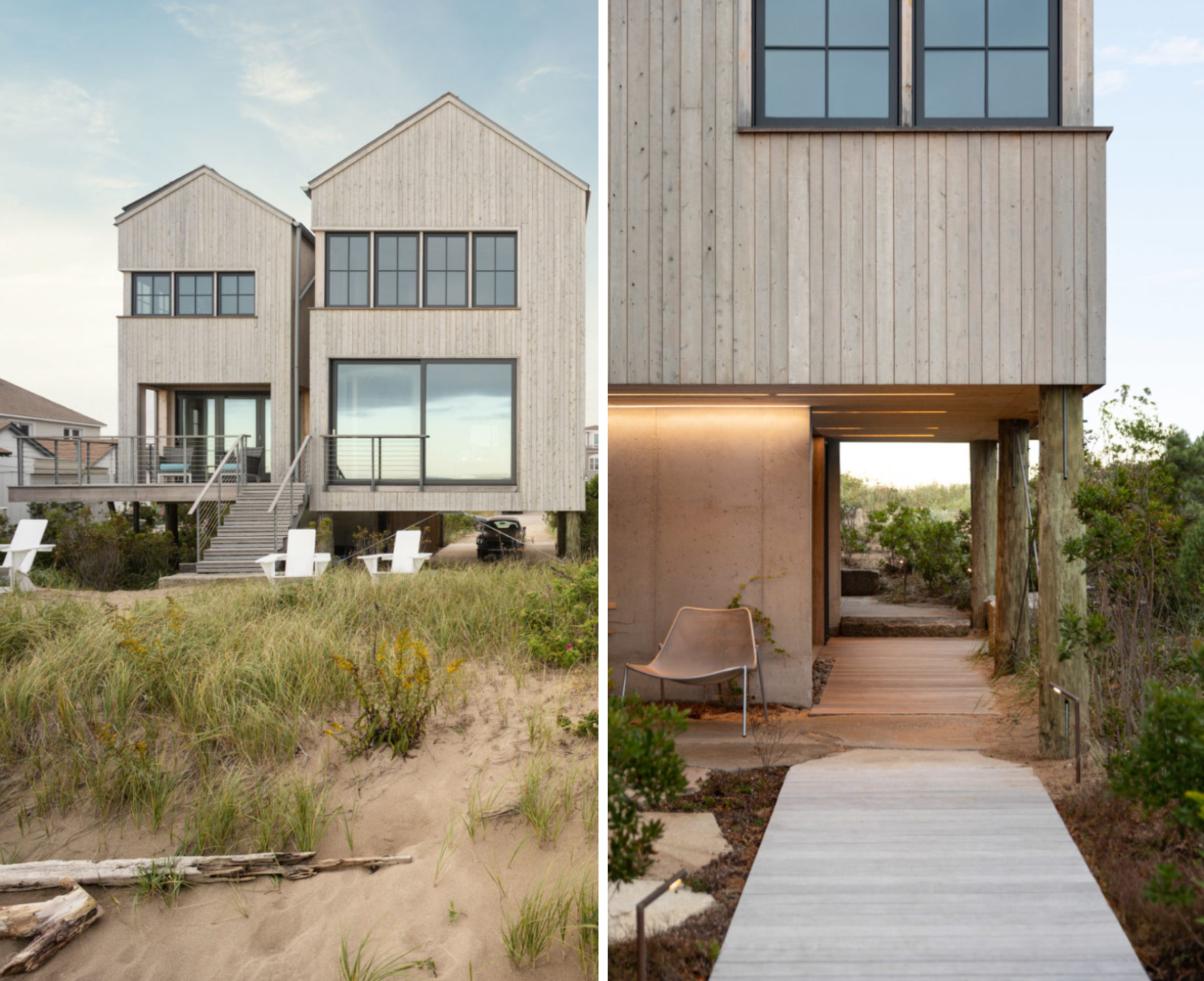 A solar-powered home in Maine rises above the sand dunes on wooden stilts