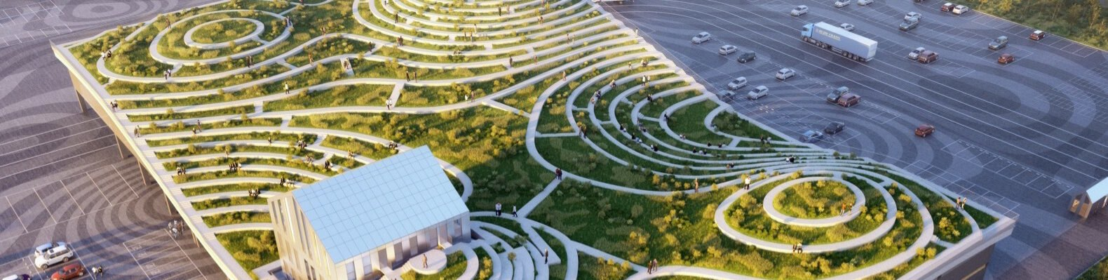rendering of an undulating green roof