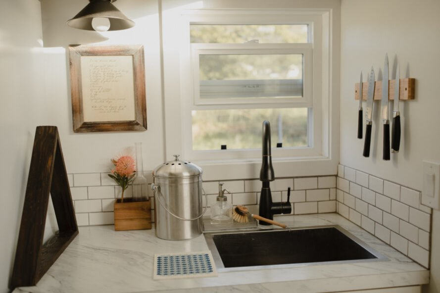 kitchen with large sink and window
