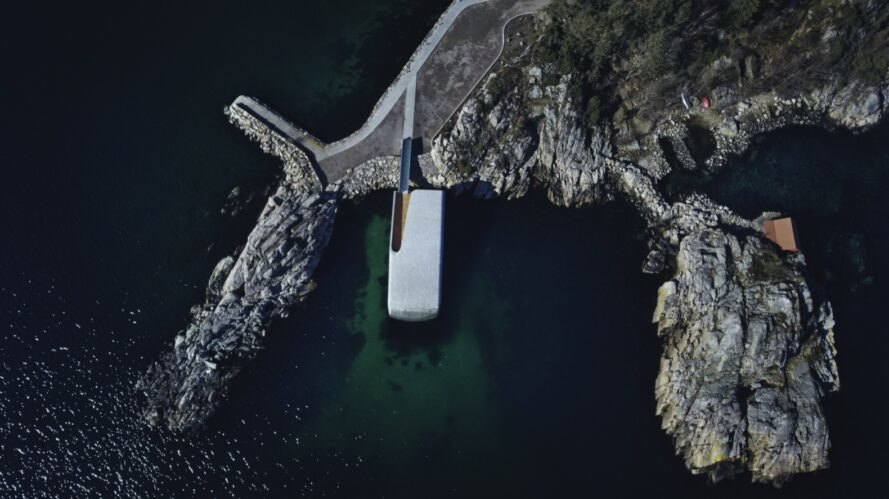 aerial view of underwater restaurant