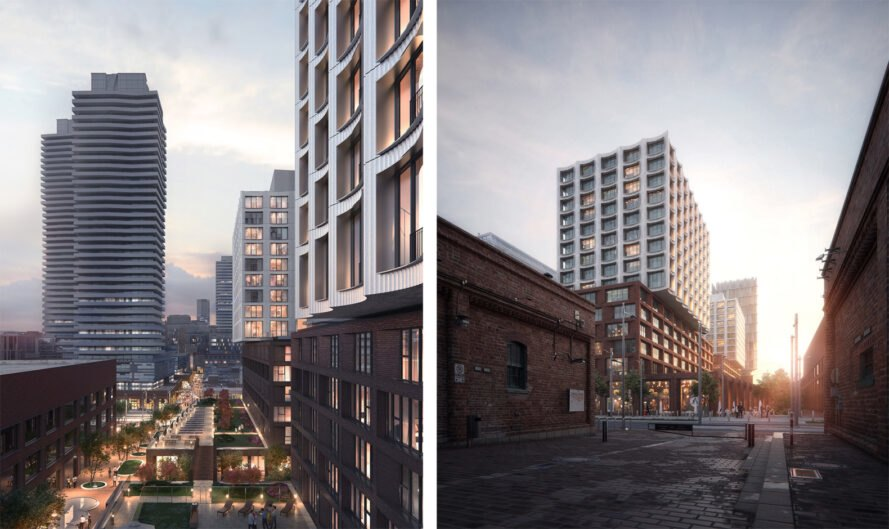 mixed-use development with brick and white facades