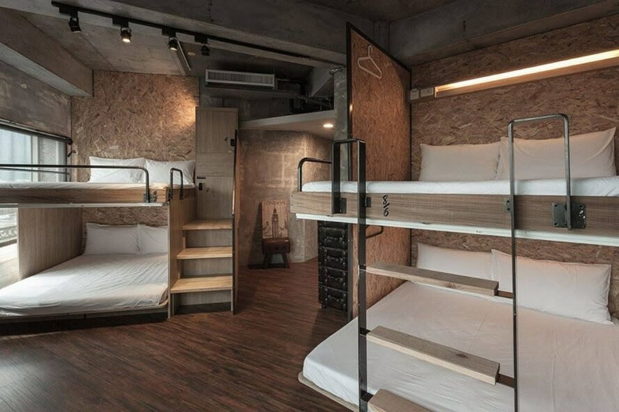 interior dorm room with bunk beds
