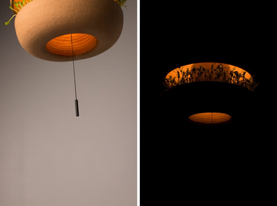 On the left, bottom of lamp with hanging switch. On the right, soft warm glow from lamp in black room