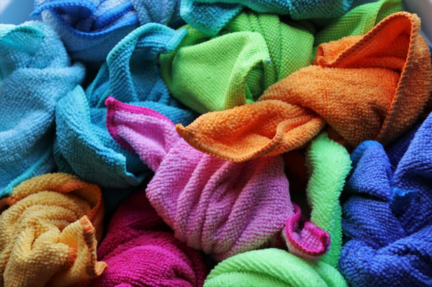pile of colorful terry cleaning cloths