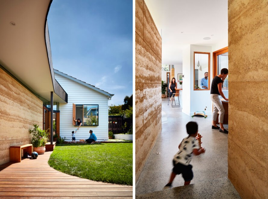 curved home addition attached to white house and a child running through a hallway with rammed earth walls