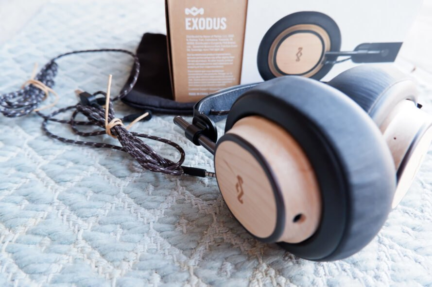 wood headphones with braided cord
