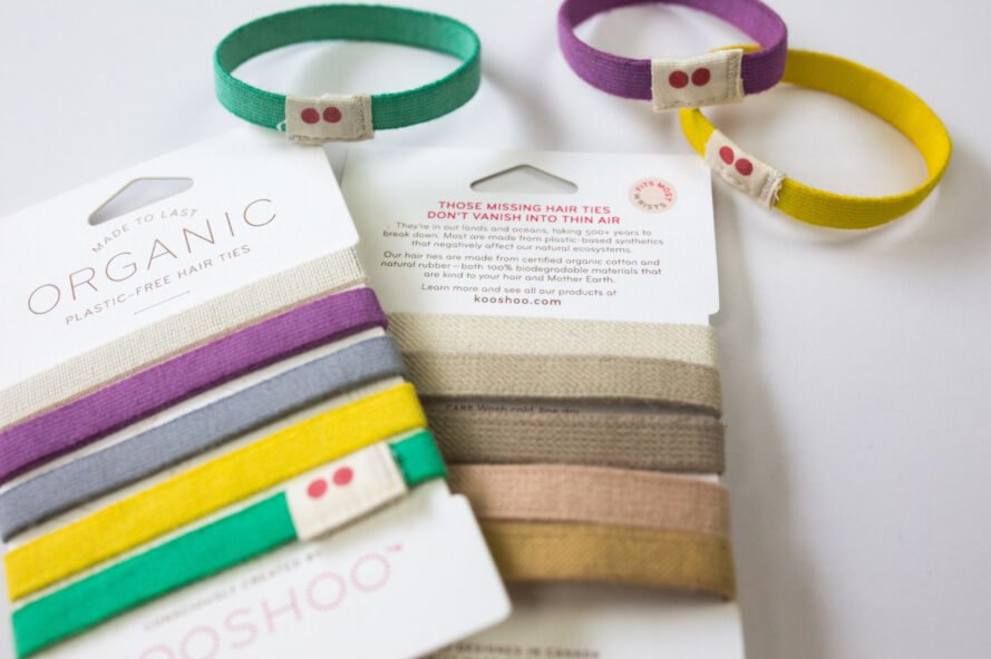 colorful hair ties on white package