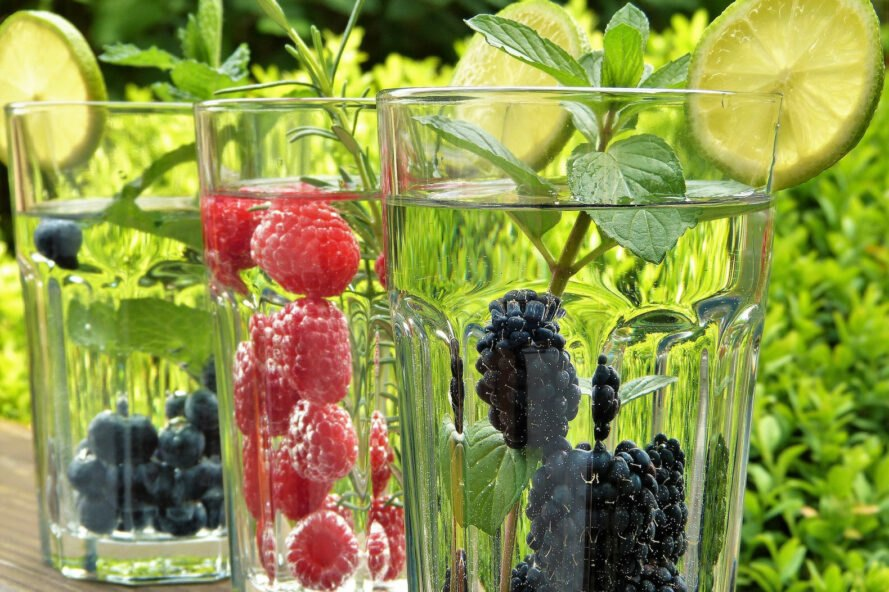 glasses of water infused with berries