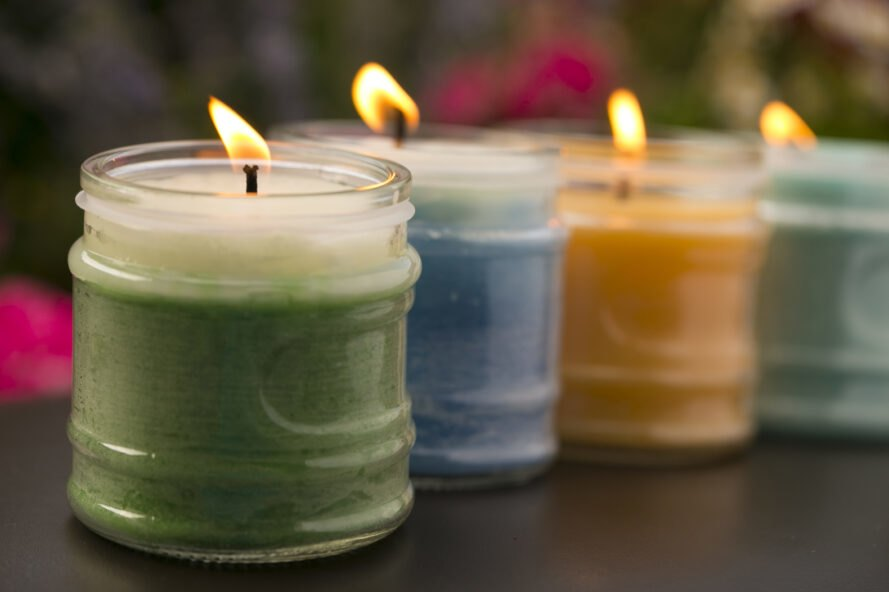 scented candles burning