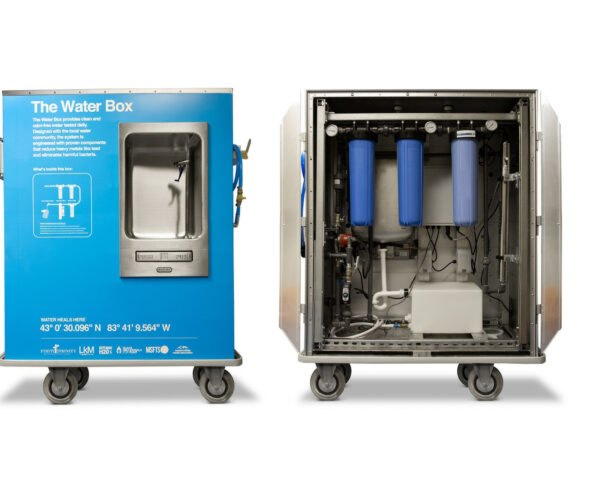 blue box on wheels with water systems inside