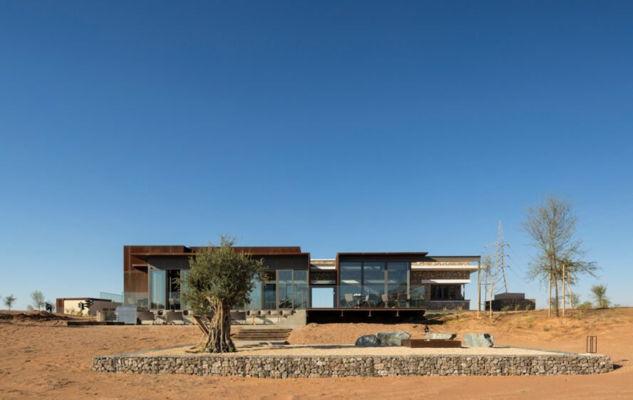 single-story building in a desert landscape
