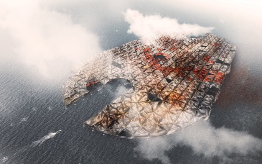 rendering of man-made island with colorful surface