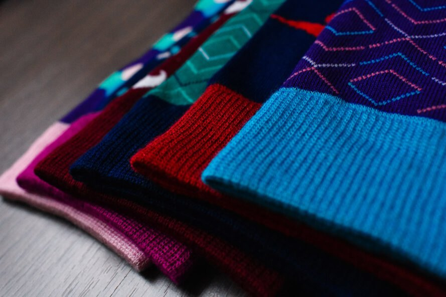 close up of bamboo socks in various designs and colors