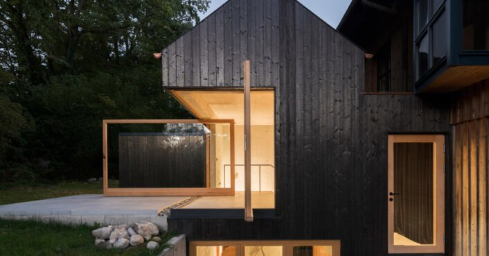 This beautiful charred timber lake house extension in Munich is chemical-free