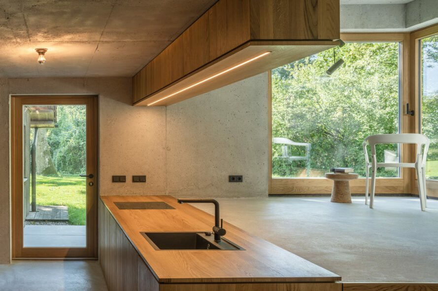interior of home with wood kitchen counter top