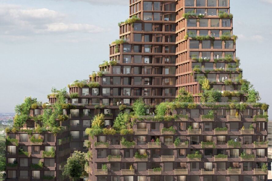 rendering of greenery-filled rooftop terraces