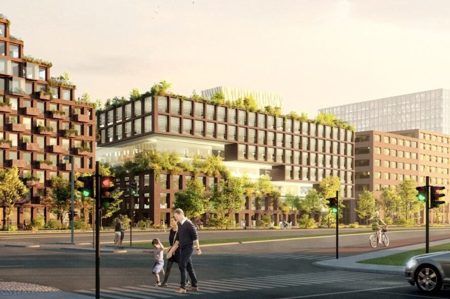 rendering of people walking by building topped with plants