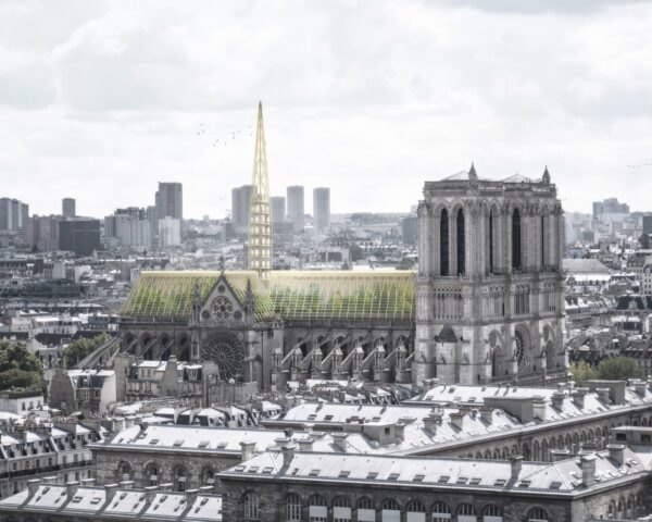 rendering of Notre Dame with greenhouse roof