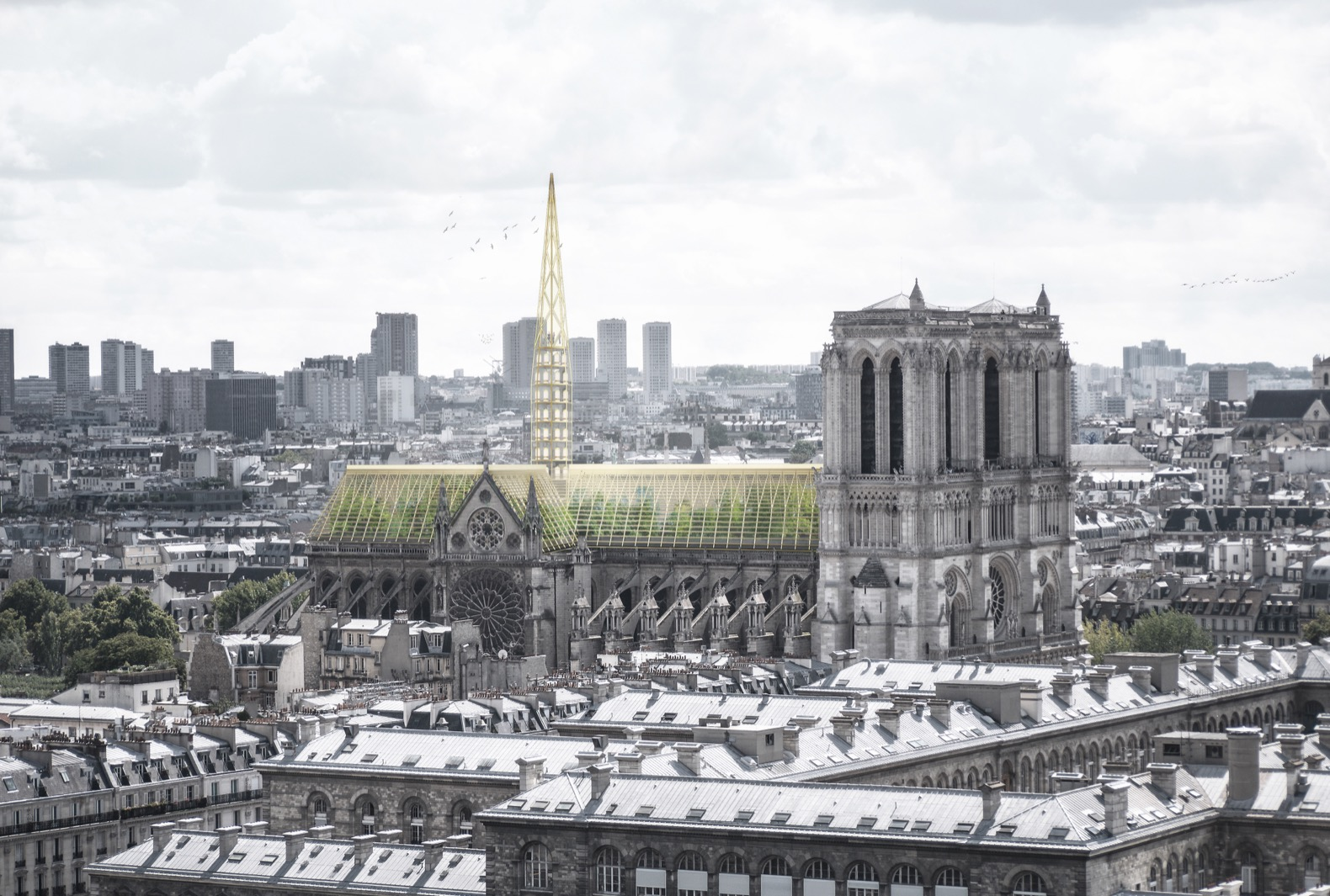 Studio NAB proposes rebuilding Notre Dame with a greenhouse and apiary