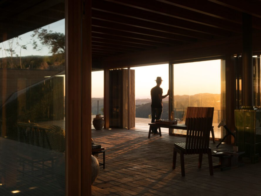 Eucalyptus screens block out the sun's harsh rays in this off-grid home